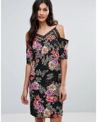 Floral Cold Shoulder Dress With Lace Neckline - Black floral Daisy Street ONbc9PW2