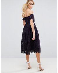 ASOS - Blue Asos Off The Shoulder Lace Prom Midi Dress - Lyst