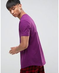 ASOS | Purple Longline T-shirt With Curved Hem for Men | Lyst