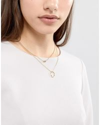 ASOS - Metallic Limited Edition Twisted Nugget Bead And Hoop Multirow Necklace - Lyst