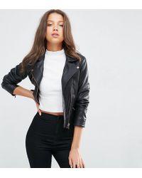 ASOS   Black Faux Leather Biker Jacket With Multi Stitch   Lyst