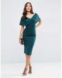 ASOS - Green Premium Fold Scuba Cape Midi Bodycon Dress - Lyst