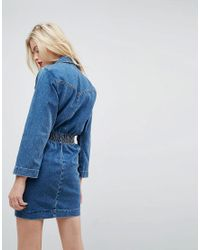 ASOS - Denim Shirt Dress In Midwash Blue With Elastic Waist - Lyst