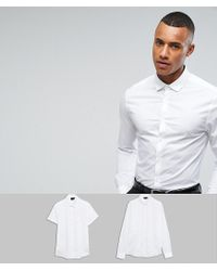 ASOS - Skinny 2 Pack Long Sleeve And Short Sleeve Shirt In White Save for Men - Lyst