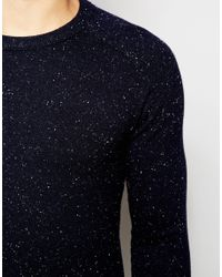 SELECTED - Blue Crew Neck Sweater With Fleck for Men - Lyst