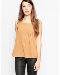 Vero Moda   Brown Sleeveless Vest With Pleat Detail   Lyst