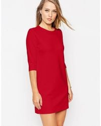 ASOS | Red Shift Dress In Ponte With 3/4 Sleeves | Lyst