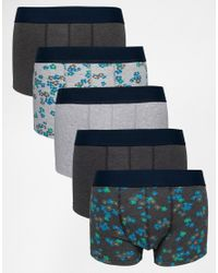 ASOS | Blue Hipsters 5 Pack With Floral Marl Save for Men | Lyst