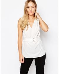 ASOS | White Sleeveless Plunge Neck Top - Cream | Lyst