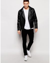Barneys Originals - Black Barneys Faux Leather Ribbed Biker Jacket for Men - Lyst