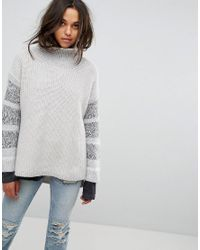 AllSaints - White Keats Oversized Funnel Neck Sweater With Contrast Panels - Lyst