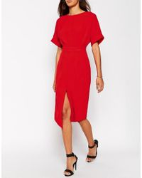 ASOS | Red Wiggle Dress With Split Front | Lyst