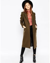 ASOS - Natural Coat In Midi Length - Lyst