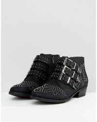 Truffle Collection - Black Western Stud Buckle Boot - Lyst