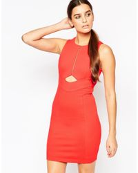 Adelyn Rae - Red Delyn Rae Zip Front Dress With Cut Out Detail - Lyst
