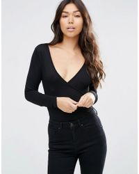 ASOS - Black Wrap Front Body With Long Sleeves - Lyst