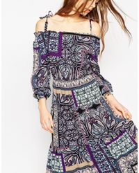 ASOS - Multicolor Boho Midi Sundress With Tie Detail Shoulder In Paisley - Lyst