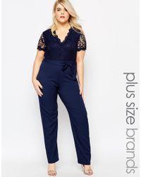Club L | Blue Plus Size Jumpsuit With Scallop Lace Top | Lyst