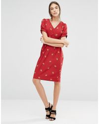 Trollied Dolly Multicolor Dip And Dazzle Strawberry Print Dress