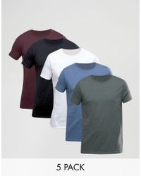 ASOS | White T-shirt With Crew Neck 5 Pack Save 17% for Men | Lyst