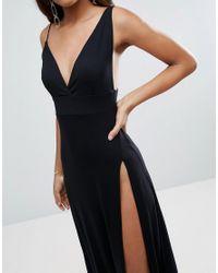 ASOS - Black Super Thigh Split Maxi Dress - Lyst