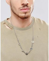 ASOS - Metallic Chain Interest Necklace for Men - Lyst