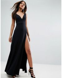ASOS - Black Super Thigh Split Maxi Dress - Lyst
