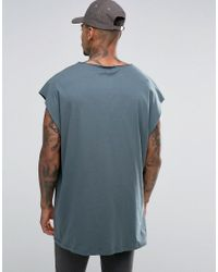 ASOS Blue Super Oversized Sleeveless T-shirt With Raw Edge And Scoop Neck In Slate for men