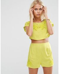 25158ee6567 Lyst - ASOS Bali Embroidered Cut Work Scallop Beach Crop Top Co-ord ...