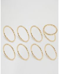 Pieces - Metallic Beol Combi Multipack Rings - Lyst