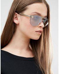 Versace - Gray Flat Lens Aviator - Grey - Lyst