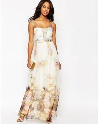 Little Mistress - Multicolor Maxi Dress With Border Floral Print - Lyst