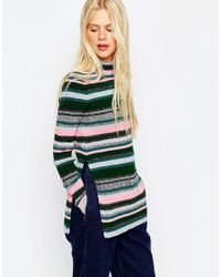 ASOS   Green Stripe Tunic With High Neck And Side Splits   Lyst