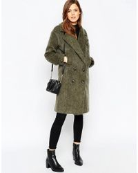 ASOS - Green Pea Coat In Oversized Fit - Lyst