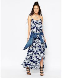 Motel | Blue Carri Maxi Dress In Dahlia Print | Lyst