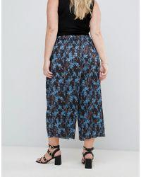 ASOS Blue Floral Print Plisse Crop Pants