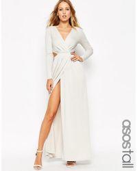 ASOS   Gray Tall Drape Plunge Maxi Dress   Lyst