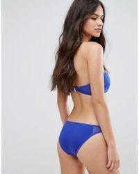 Stella McCartney - Blue Neoprene & Mesh Classic Bikini Bottom - Lyst