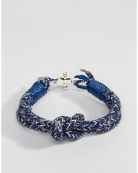 Icon Brand - Blue Anchor Stripe Woven Bracelet In Navy for Men - Lyst