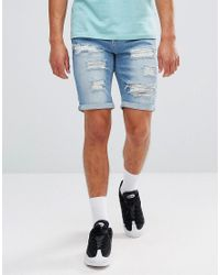 11 Degrees - Super Skinny Denim Shorts In Lightwash Blue for Men - Lyst