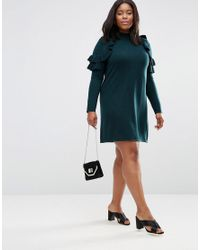 ASOS | Green Jumper Dress With Ruffle Shoulder | Lyst