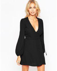 ASOS | Black Mini Wrap Dress With Blouson Sleeves | Lyst