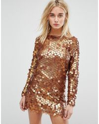 152f8f1f298b Lyst - Motel Mini Dress In Shimmer Disc Sequin