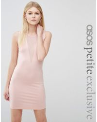 ASOS | Pink Plunge Bodycon Mini Dress With Contrast Mesh | Lyst