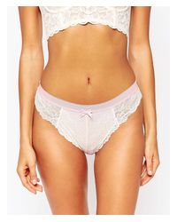 New Look - Contrast Band Lace Brazilian Brief - Mid Pink - Lyst