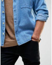 Jack & Jones - Brown Leather Bracelet With Plaited Detail for Men - Lyst