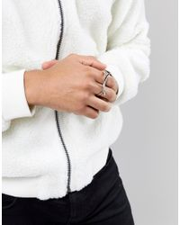 ASOS - Metallic Double Ring With Spike Design - Lyst