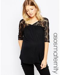 ASOS | Black Maternity Smock Top With Lace Panel | Lyst