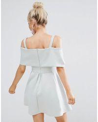 ASOS - Blue Bow Front Off The Shoulder Bardot Skater Mini Dress - Lyst