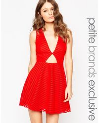 John Zack - Red Plunge Keyhole Detail Skater Dress - Lyst